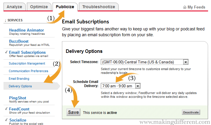 How to Change Your FeedBurner Email Delivery Time