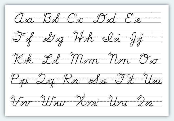 the alphabet in cursive writing Dltk's educational crafts - learn the alphabet cursive writing tracer pages this first group of cursive font tracer pages is not connected the children can learn to form the individual letters at this point.